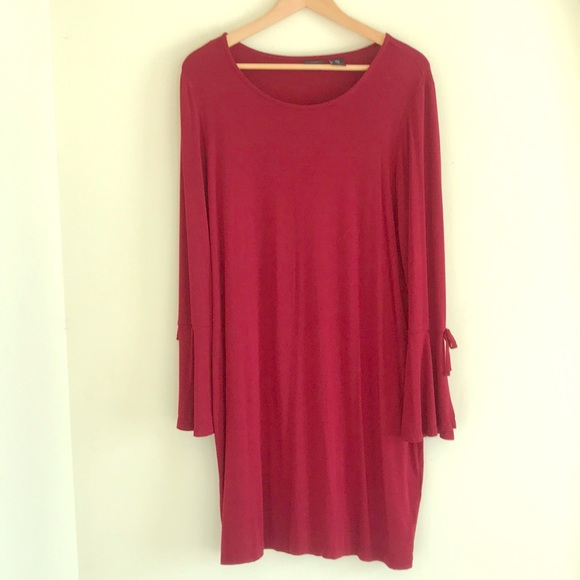 mercer & madison Dresses & Skirts - ADORABLE RED DRESS WITH TIE BELL SLEEVES